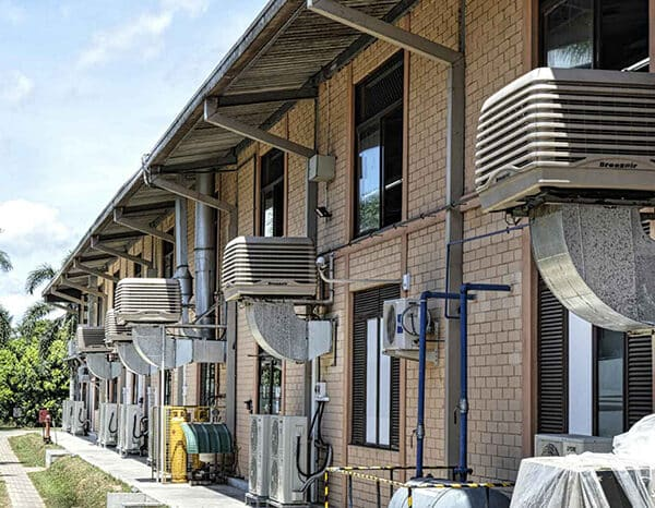 Evaporative cooling system connected to a house scheme